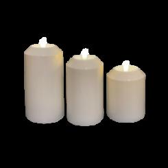 Hvide Udendørs Led lys Ø7,5 cm - sæt af 3 stk