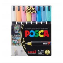 Uni Posca Soft Color PC-1MR, Sæt med 8 stk. ass.