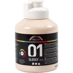 A-Color akrylmaling, lys hudfarvet, 01 - blank, 500ml