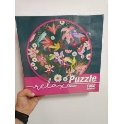 Relax puzzle rund 1000 brikker, kolibri