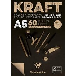 Kraft brun og sort - tegnepapir A4