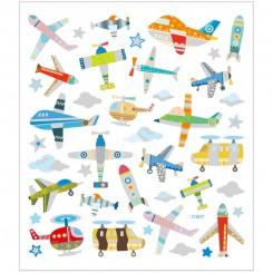 Stickers, ark 15x16,5 cm, 42 stk., fly og helikoptere, 1ark