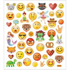 Stickers, ark 15x16,5 cm, 46 stk., emojis, 1ark