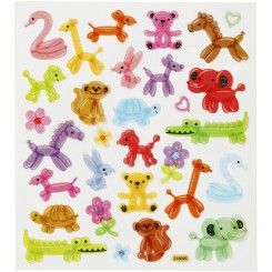 Stickers, ark 15x16,5 cm, ca. 26 stk., ballondyr, 1ark