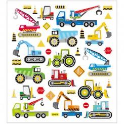 Stickers, ark 15x16,5 cm, ca. 36 stk., byggeplads køretøjer, 1ark
