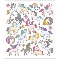 Stickers, ark 15x16,5 cm, ca. 27 stk., enhjørninge, 1ark
