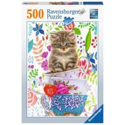 Ravensburger Puzzle, Teacup Kitten, 500 brikker