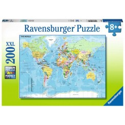 Ravensburger Puzzle, Map of the World, XXL 200 brikker