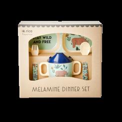 Rice melamin baby spisesæt - Jungle Animals Print Blå