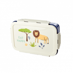 Rice stor løve madkasse - Jungle Animals Print Blå