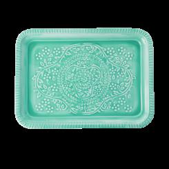 Rice Rektangulær Metal Bakke, tyrkis