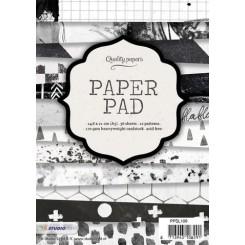 Blok med mønstret papir, 36 ark, sort / hvid