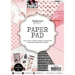 Blok med mønstret papir, 36 ark, rosa og retro