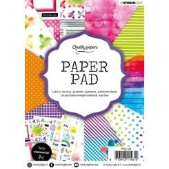 Blok med mønstret papir, 36 ark, rainbow