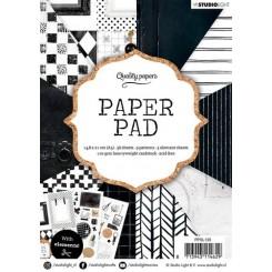 Blok med mønstret papir, 36 ark, sort og hvid moderne