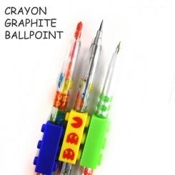 Sæt med 3 skriveredskaber - kuglepen, blyant, farve