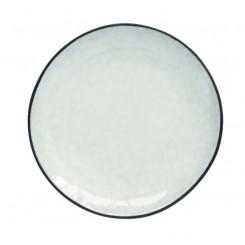 Stentøjstallerken Ø20,5 cm - Hvid/sort