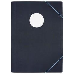 Elastikmappe Sort med lys cirkel A3
