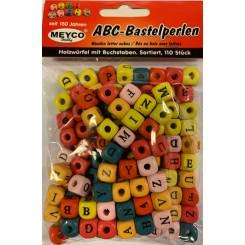 Perler i træ med alfabet, farvet, 1x1cm