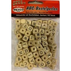Perler i træ med alfabet, natur, 1x1cm