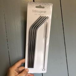 Sugerør rustfri stål, 4 stk., Incl. børste
