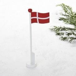 Flagstang, med dansk flag, træ, 20cm, 3 stk.