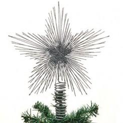 Topstjerne, metal, sølv, m. glimmer, 35cm