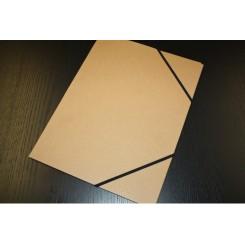 Elastikmappe karton A2, 3 klapper, Natur