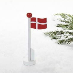 Flagstang, med dansk flag, træ, 14cm, 4 stk.