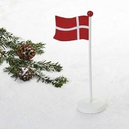 Flagstang, med dansk flag, træ, 25cm, 1stk.