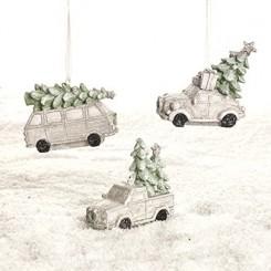Bil med juletræ, pastelfarvet, med snor