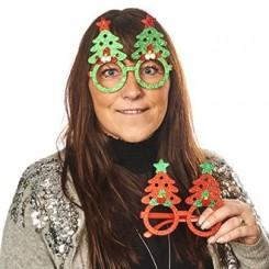 Briller, plast, med glimmer filt juletræer