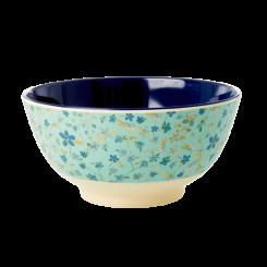 Mellem Melamin Skål - Blue Floral Print