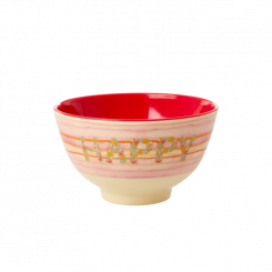 Lille Melamin Skål - Happy Pink Print