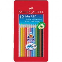 Faber Castell GRIP farveblyanter 12 stk, metalæske