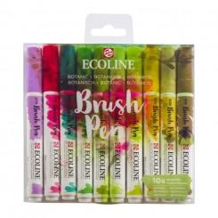 Ecoline watercolor brush pen sæt med 10 stk., Botanic