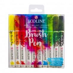 Ecoline watercolor brush pen sæt med 10 stk., Bright