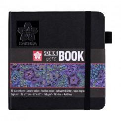 Sketch- og notesbog, sorte sider, 12x12cm, Black