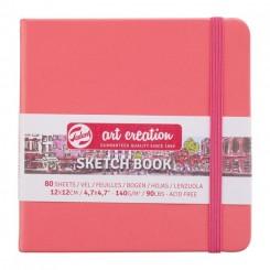Sketch- og notesbog, 12x12cm, Coral Red