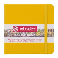 Sketch- og notesbog, 12x12cm, Golden Yellow