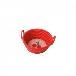 Rice Raffia Kurv, Cherry print rød, Lille