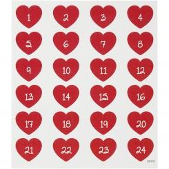 Stickers, Kalendertal, hjerter, 1 Ark
