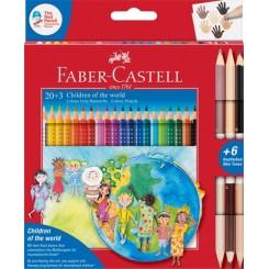 Faber Castell GRIP farveblyanter, 23 stk. inkl. 3 skin toner