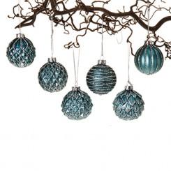 Julekugle, glaspynt i tyrkis, 6 cm