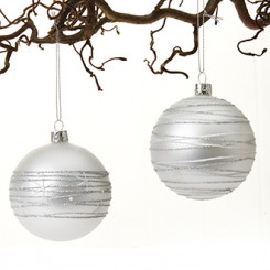 Julekugle, glaspynt i sølv, 8 cm