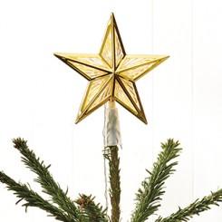 Topstjerne med lys, plast, 17 cm