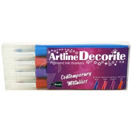 Artline Decorite brush metallic 4-sæt
