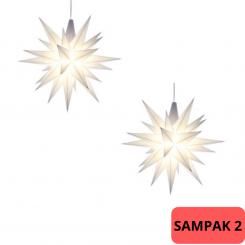 SAMPAK - 2 Adventsstjerner, plast, 13cm, samlet, hvid (LED) + 1 adapter til 4 stjerner (LED)
