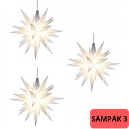 SAMPAK - 3 Adventsstjerner, plast, 13cm, samlet, hvid (LED) + 1 adapter til 4 stjerner (LED)