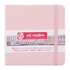 Sketch- og notesbog, 12x12cm, Pastel Pink